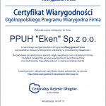Certyfikat Wiarygodna Firma