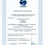 Świadectwo autoryzacji w zakresie montażu, remontów i przeglądów wentylatorów typu WPK, WPR, WOK